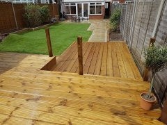 Virginia Water decking with fence posts